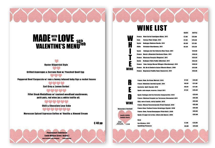 Design Valentine Menu & Poster. Pyg Restaurant Dublin