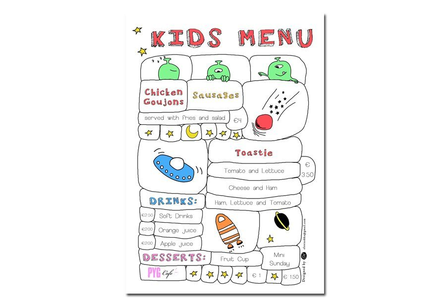 Menu Design Kids Pyg Cafe