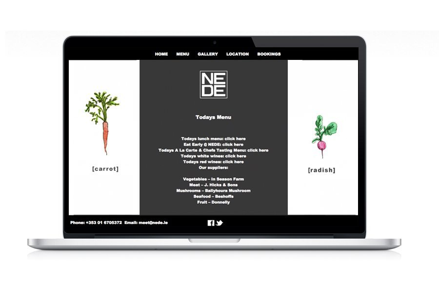 Website Design Nede Restaurant Menu