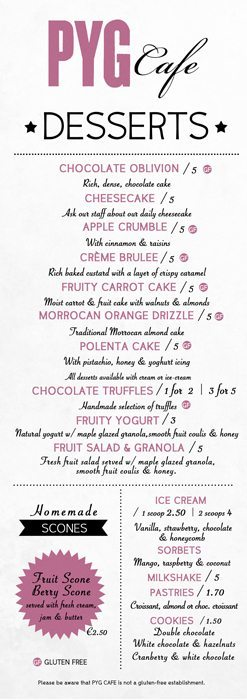 Graphic Design - Dessert Menu Design - Pyg Cafe