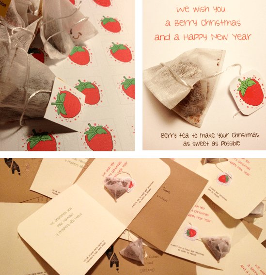 Christmas Card Design - with berry teabags