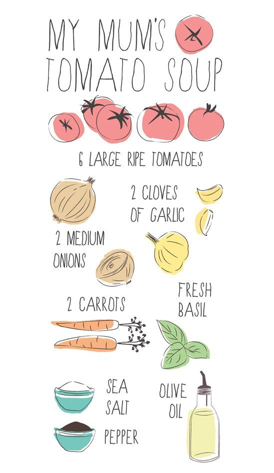 Tea Towel Design - Tomato Soup Illustration