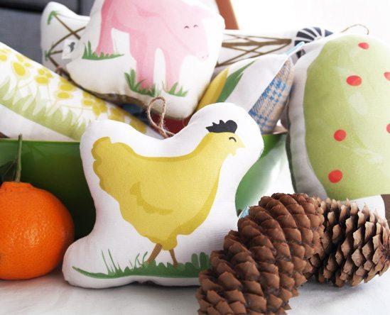 Illustrated Stuffed Cushion Detail Bird