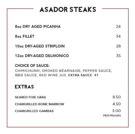 Menu Design Ireland - Asador Restaurant